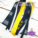 plaid #80 ponytail holder personalized with school letters