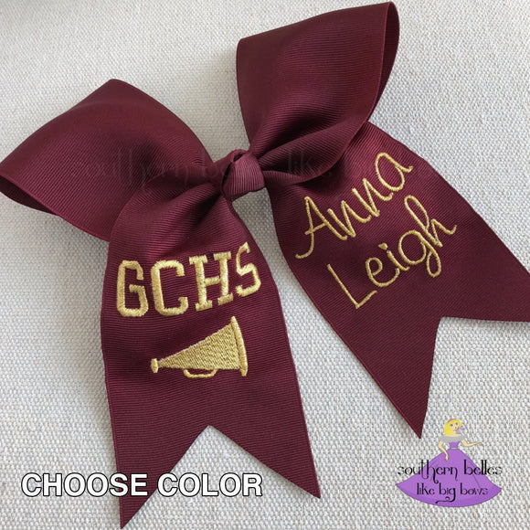 Personalized Cheer Bow with Megaphone and Metallic Gold Thread