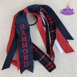 Plaid #37 ponytail holder for school uniform dennis hamilton personalized