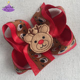 Christmas Baby Headband with Reindeer Faces and Glitter Ribbon