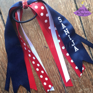 Custom Polka Dot Ponytail Ribbon Streamers
