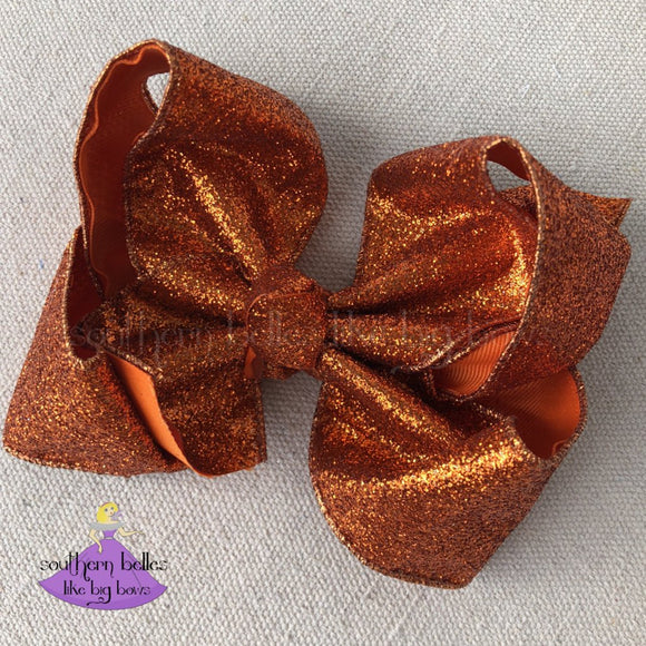 Big Orange Glitter Hair Bow for Fall or Halloween