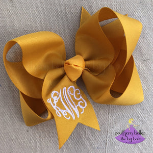 Mustard Yellow Monogrammed Bow in Large fpr Fall
