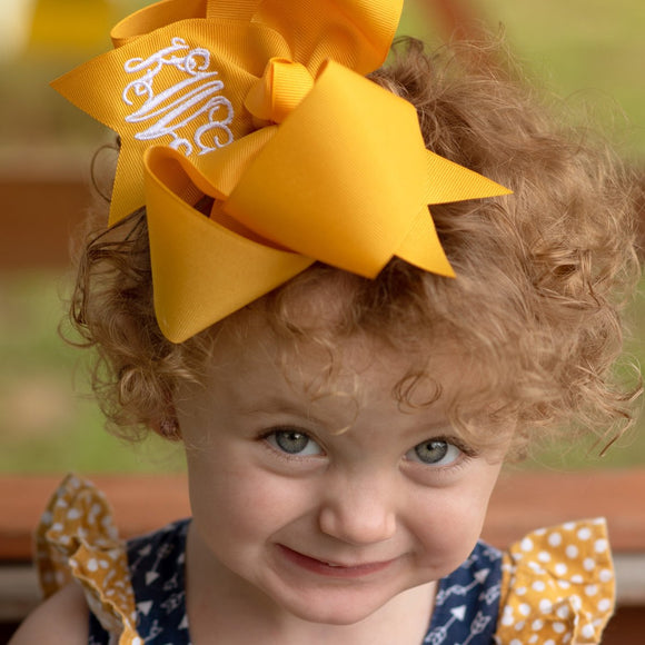 Mustard Yellow Monogrammed Bow in Large