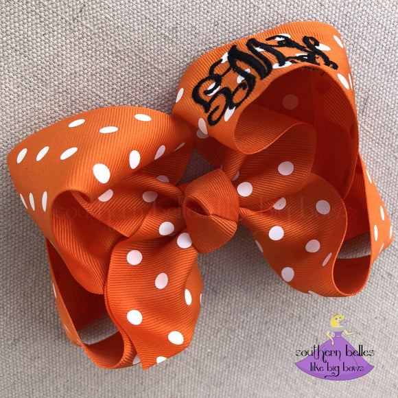 Big Orange Polka Dot Boutique Bow Personalized with Monogram
