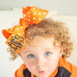 Orange Polka Dot Bow with Loop Monogram