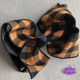 Big Orange and Black Checked Hair Bow for Halloween