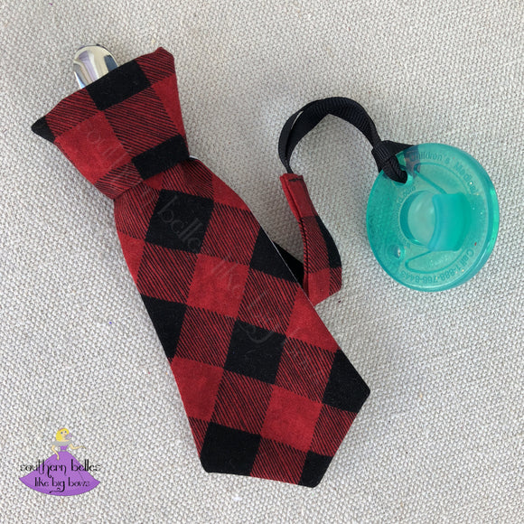 Necktie Buffalo Plaid Pacifier Clip for Boy