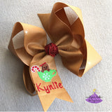 Personalized Gingerbread Christmas Hair Bow