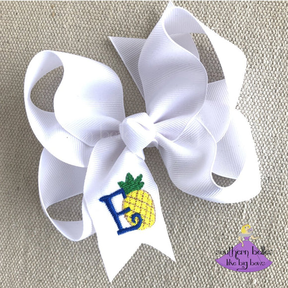 Personalized Pineapple Hair Bow for Girl