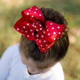 Red Polka Dot Hair Bow - Big Red Polka Dot Boutique Bow, Minnie Mouse Bow