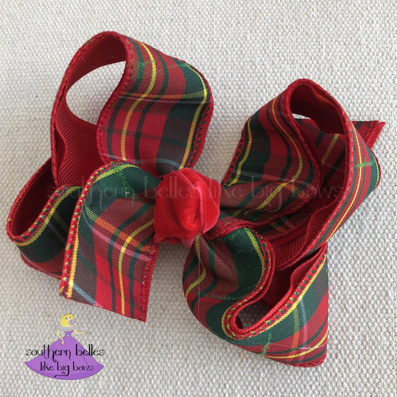 Christmas Plaid Bow - Small to Medium