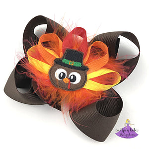Brown Thanksgiving Turkey Hair Bow with Pilgrim Turkey Center and Feathers