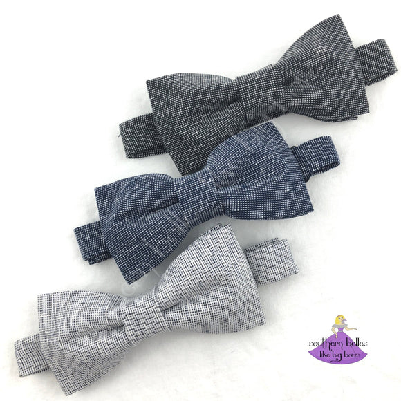 Linen Chambray Bow Tie for Boys to Adults