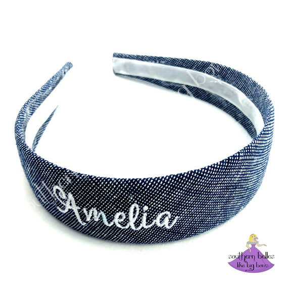 Personalized Navy Headband