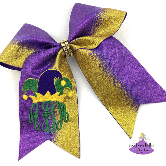 Big Mardi Gras Ombre Glitter Cheer Bow with Jester Hat and Personalized Monogram