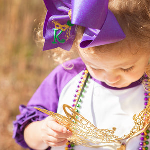 Personalized Glitter Mardi Gras Bow with Initial Letter