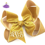 Personalized Gold Glitter Monogram Bow in Large
