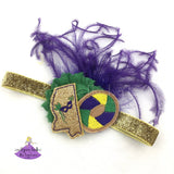 Mardi Gras Baby Headband Personalized with Your State