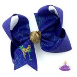 Personalized Mardi Gras Bow with Embroidered Monogram