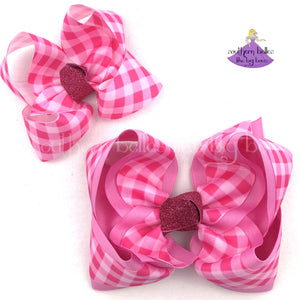 Valentine Checks Hair Bow with Dark and Light Pink Checks