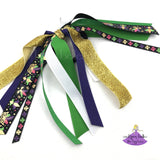 Black Mardi Gras Ponytail Holder with Ribbon Streamers
