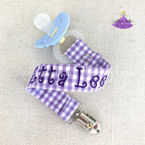 Personalized Pacifier Clip in Lavender and White Plaid Checks