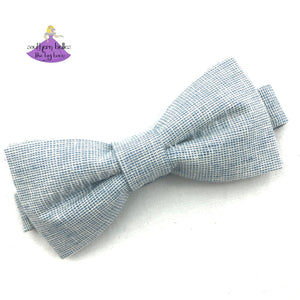 Blue Linen Chambray Bow Tie for Boys to Adults