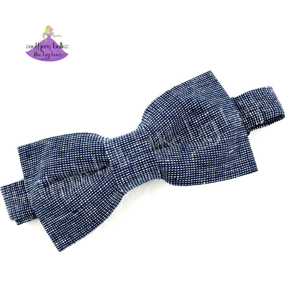 Navy Denim Chambray Bow Tie