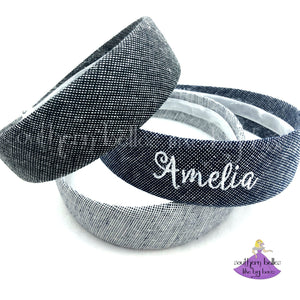 Personalized Line Chambray Hard Headbands for Women and Girls