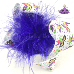 Mardi Gras Hair Bow for Girl with Feathers