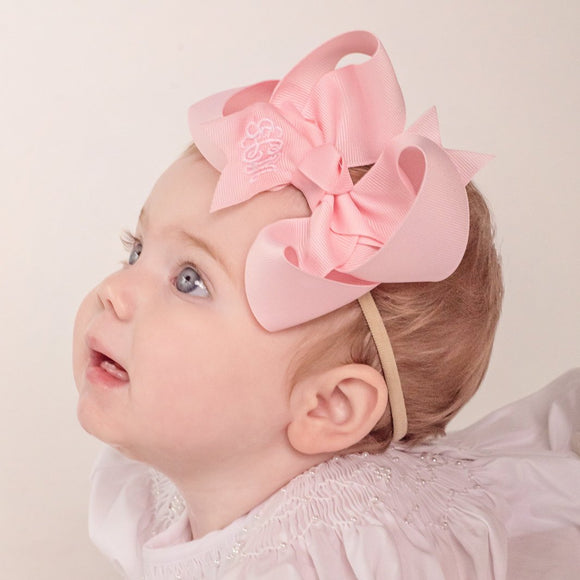 Pink Baby Headband Bow with Monogram