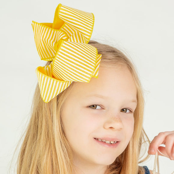 Yellow Seersucker Striped Hair Bow