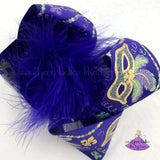Big Purple Mardi Gras Bow Featuring Mardi Gras Masks and Metallic Gold with Glitter Accents
