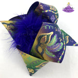 Big Ombre Mardi Gras Bow with Mardi Gras Masks and Metallic Gold with Glitter Accents