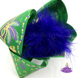 Big Green Mardi Gras Bow Featuring Mardi Gras Masks and Metallic Gold with Glitter Accents