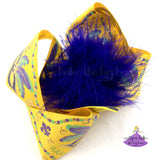 Large Yellow Mardi Gras Bow with Glitter and Gold Mardi Gras Masks and Beads