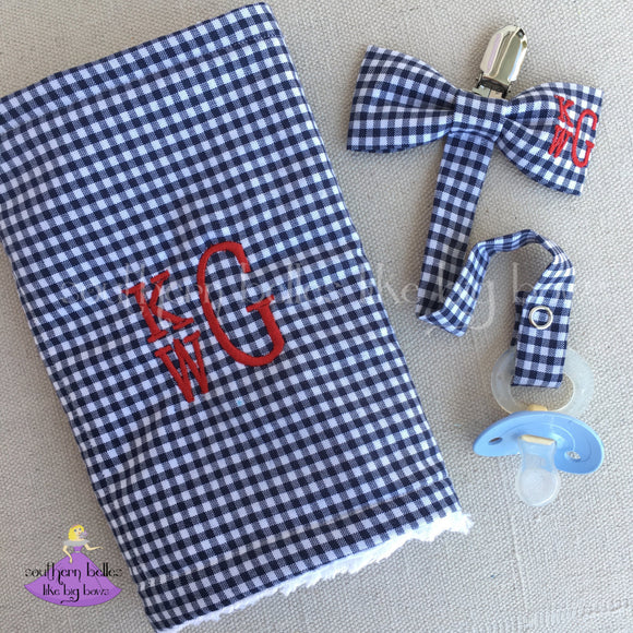 Personalized Navy Plaid Check Burp Cloth with Matching Bow Tie Pacifier Clip