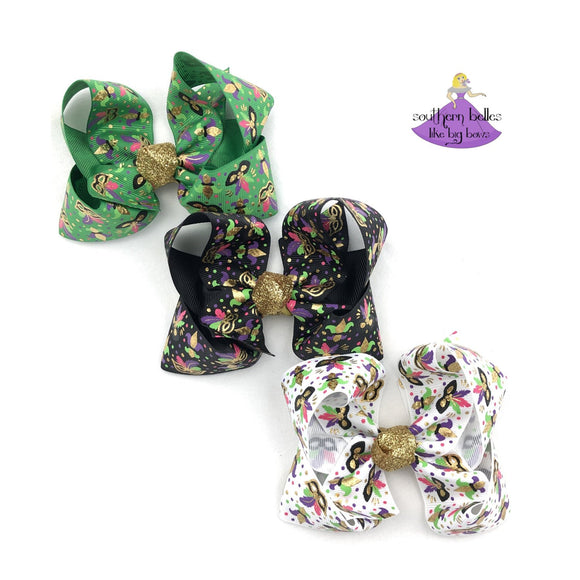 Mardi Gras Boutique Bows in green, white, and black with masks and fleur-de-lis
