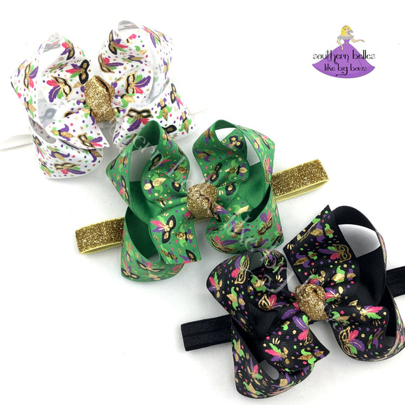 Mardi Gras Baby Bow Headbands