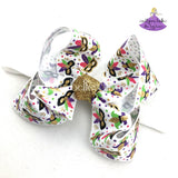White Mardi Gras Baby Boutique Bow Headbands