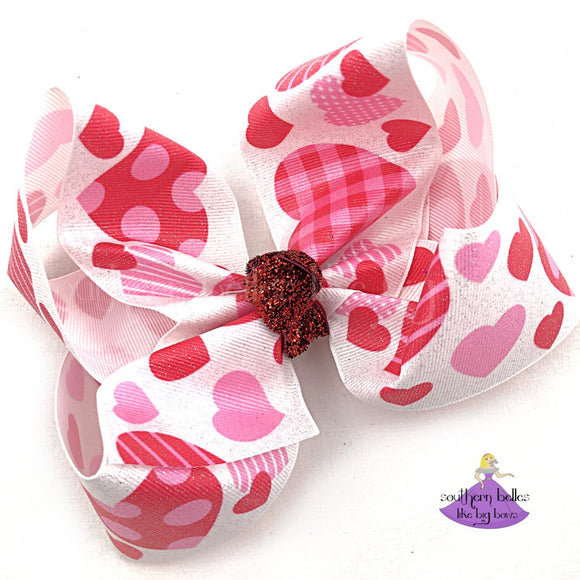 Big Valentine Heart Boutique Hair Bow with Glitter