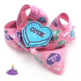 Valentines Conversation Hearts Hair Bow with Sassy or Cutie