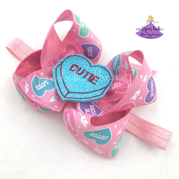 Valentines Baby Bow Headband with Sassy or Cutie Conversation Hearts