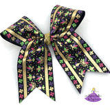 Black Mardi Gras Cheer Bow