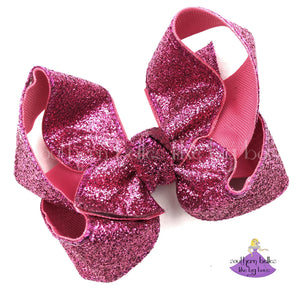 Big hot pink glitter hair bow