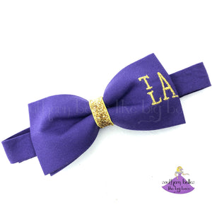 Personalized Purple Mardi Gras Bow Tie with Gold Monogram