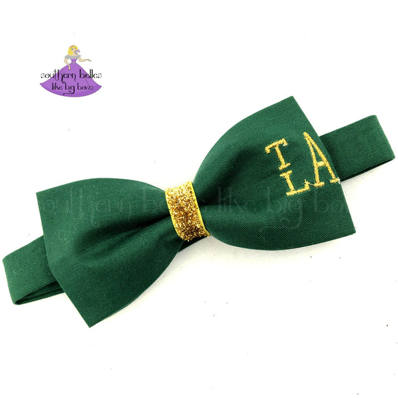 Personalized Green St. Patrick's Day Bow Tie with Gold Monogram