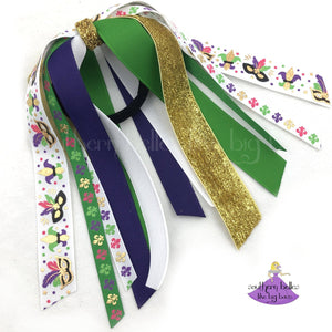 White Mardi Gras Ponytail Holder with Ribbon Streamers