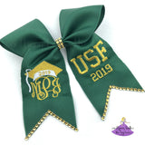 Custom Graduation Cap Bow with Metallic Thread and Bling